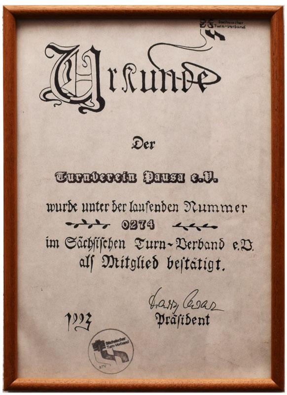 1993 - TV Pausa wurde als Mitglied im sächsischen Turnverband bestätigt