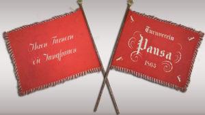 Handgestickte Fahne des TV Pausa von 1863