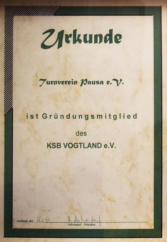Gründungsmitglied im Kreissportbund Vogtland
